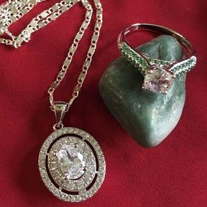 Stunning White Sapphire & Emerald Set